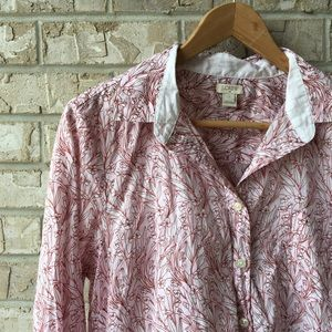 J Crew Printed Popover  Button Down Shirt Womens L